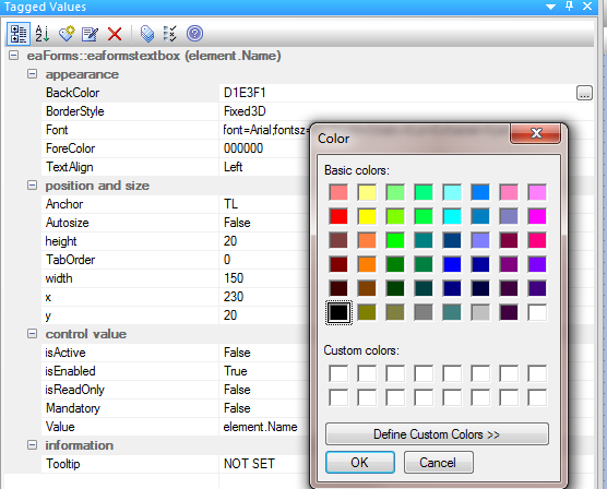 Tagged values color editor