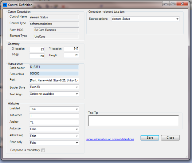 Example of Control Definition Editor