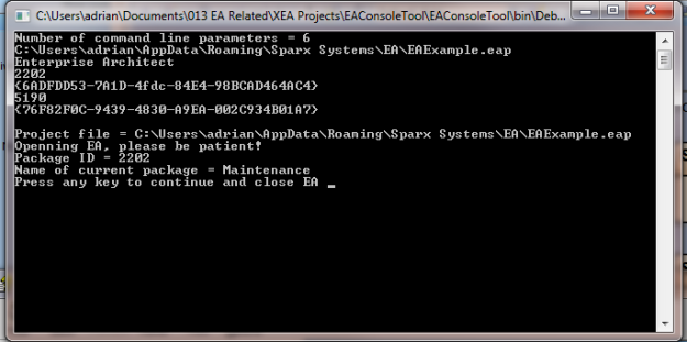Example output from the EA Console Tool test application