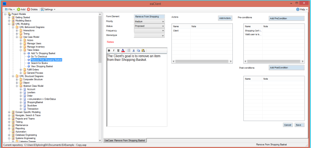 eaForms prototype client with same Use Case form