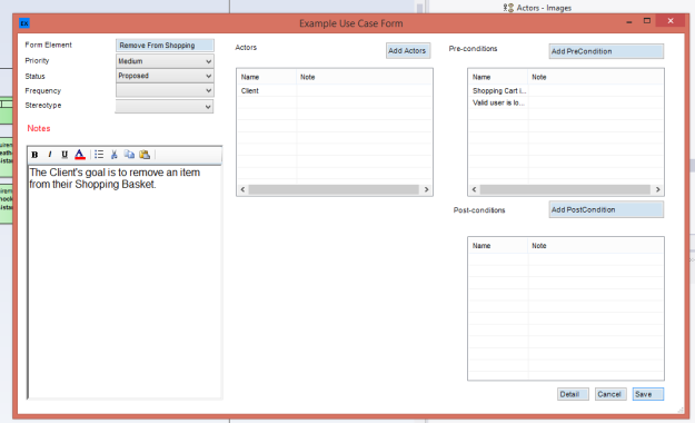 eaForms AddIn Use Case form for our Business Analyst