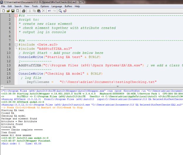 Running test script within script editor