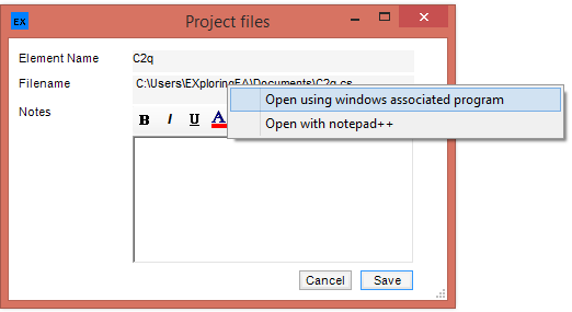Open file specified in Genfile from context menu