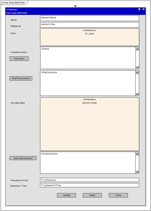 Use Case form defined in EA diagram