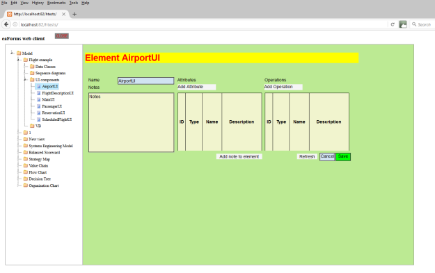screenshot of example form with eaForms webclient