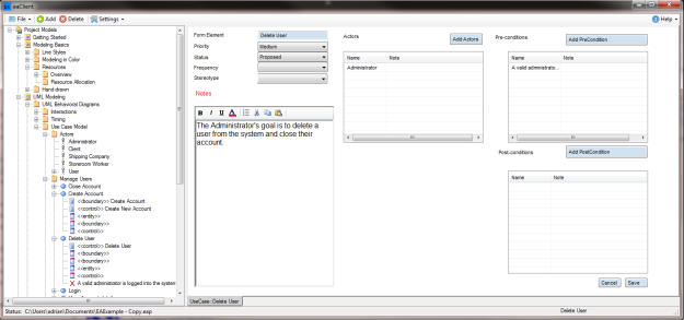 Screenshot from eaForms eaClient application